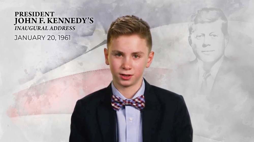 Brayden Harrington speaking at the inauguration special