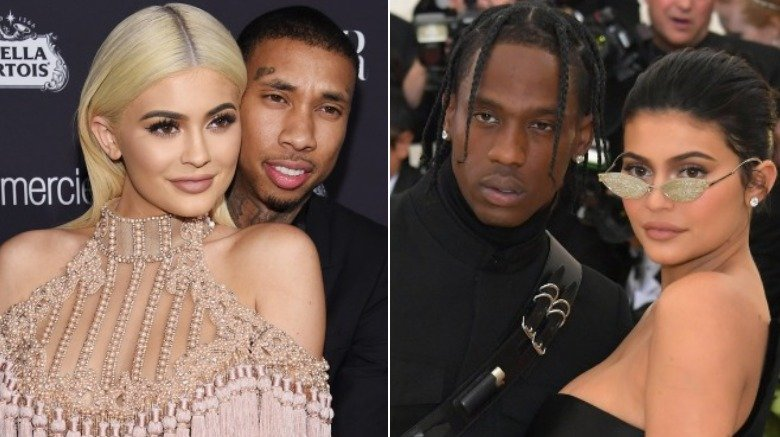 Tyga and Kylie Jenner and Travis Scott with Kylie Jenner at the Met Gala in 2018