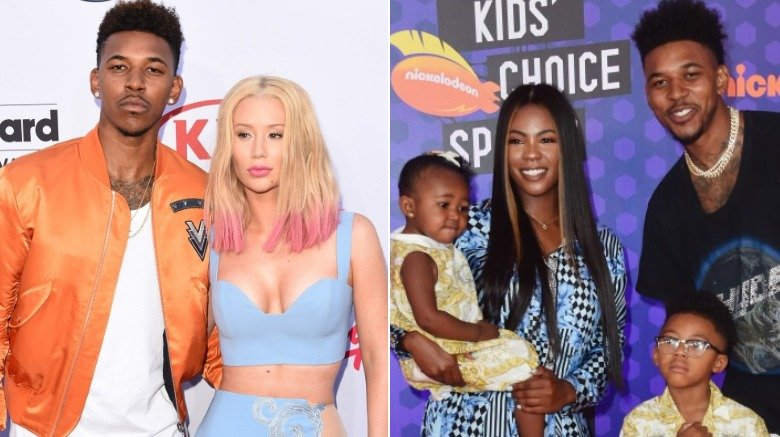 Nick Young and Iggy Azalea / Nick Young with Keonna Green and their two children