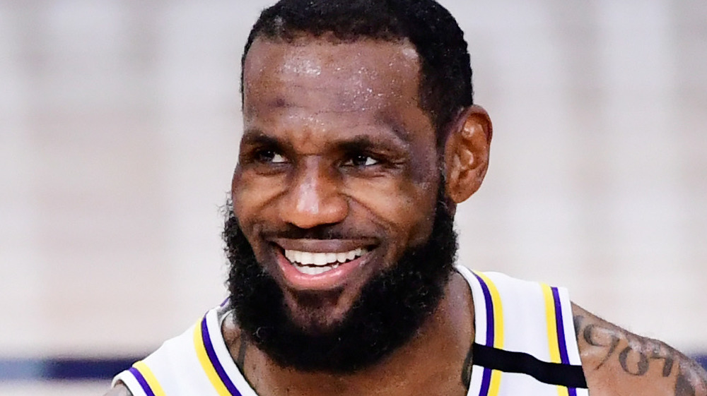 LeBron James smiling in the court