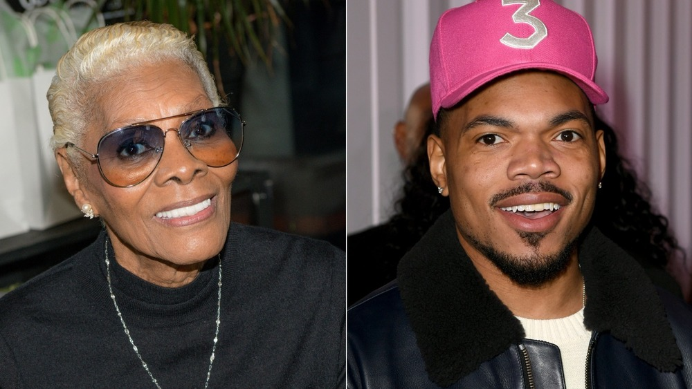 Dionne Warwick and Chance The Rapper smiling in split image