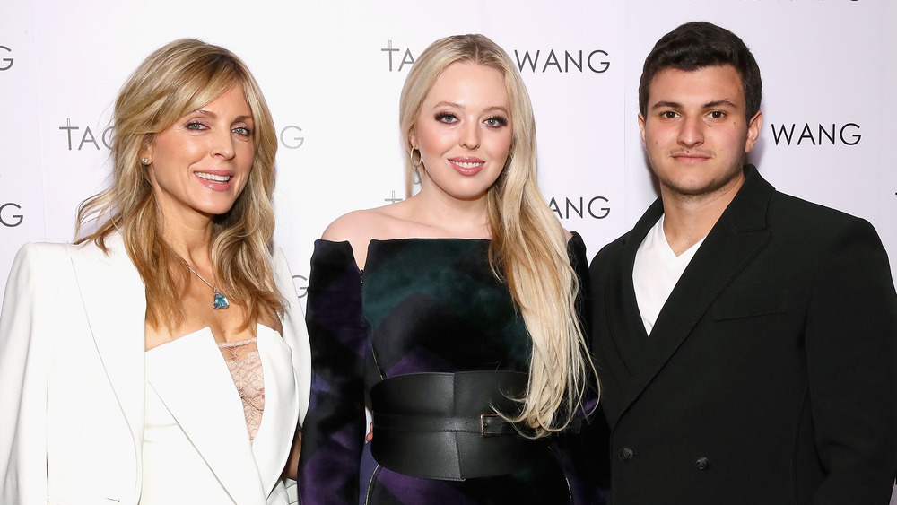 Marla Maples with Tiffany Trump and Michael Boulos at a fashion week event