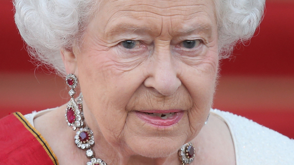 Queen Elizabeth II looking out at the crowd