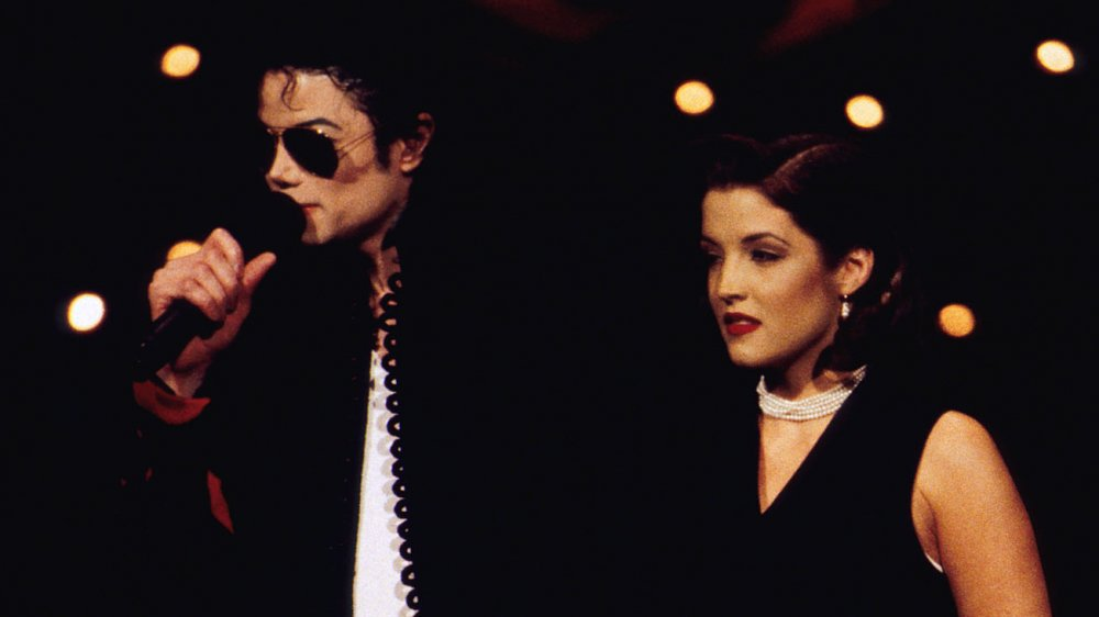 Lisa Marie Presley and Michael Jackson take the stage at the 1994 MTV Video Music Awards.
