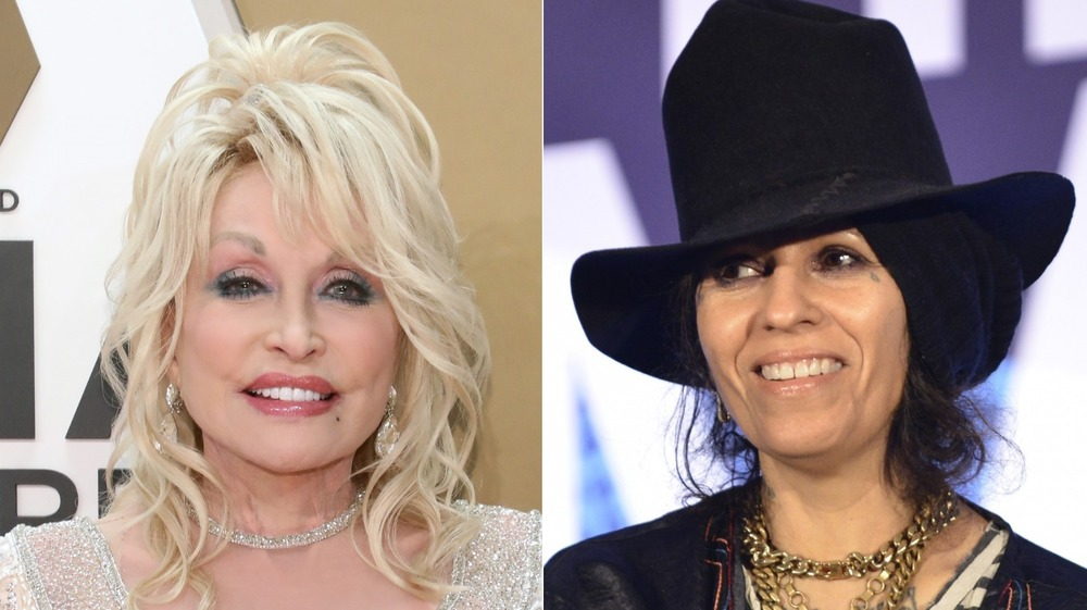 Dolly Parton and Linda Perry split image