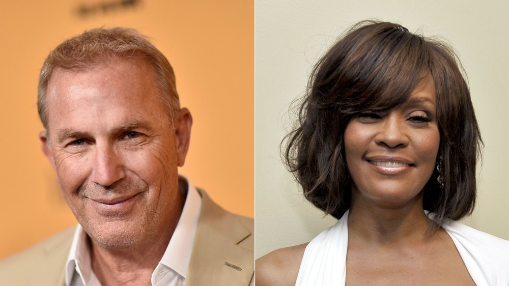 Kevin Costner and Whitney Houston smiling