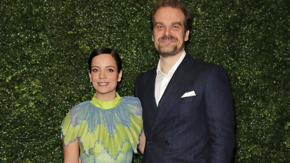 Lily Allen and David Harbour at a pre-BAFTA party in 2020
