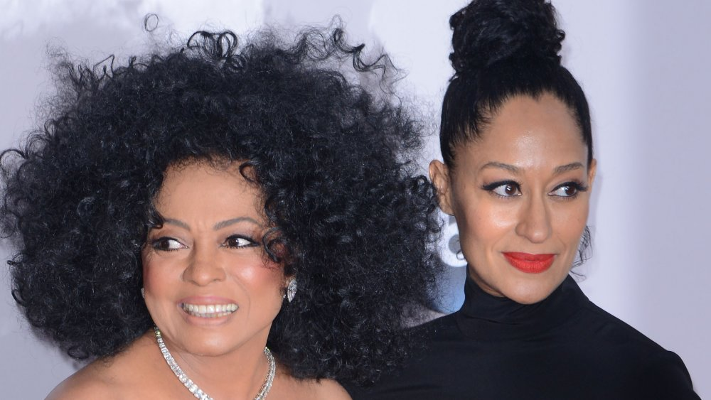Diana Ross and Tracee Ellis Ross, both wearing black and posing together with smiles