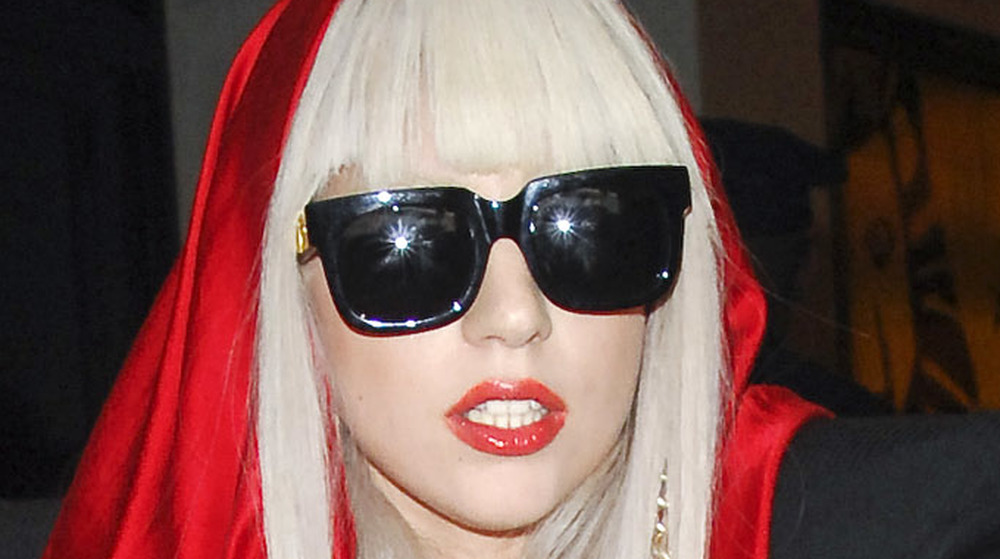 Lady Gaga gazing in front with sunglasses on
