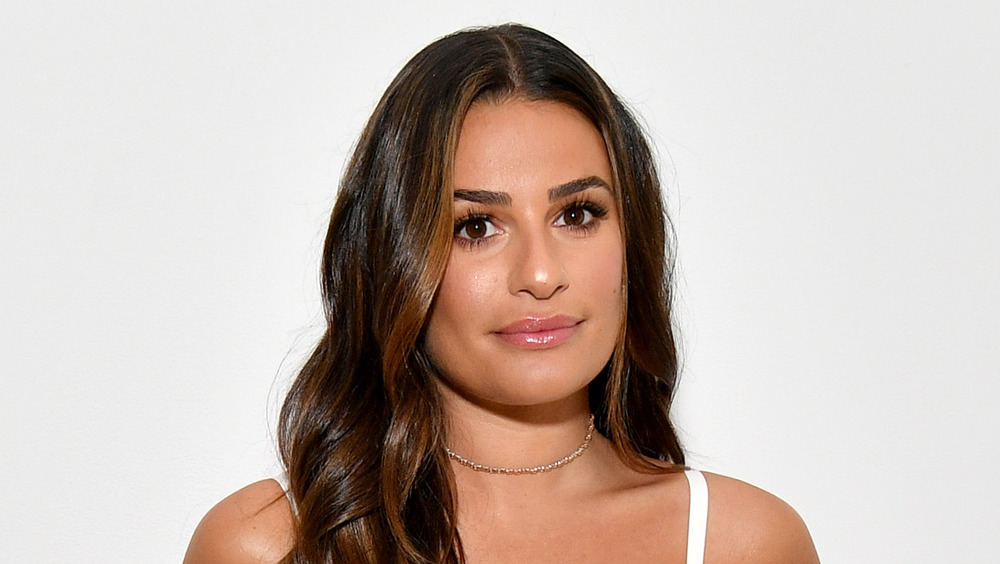 Lea Michele looking serious
