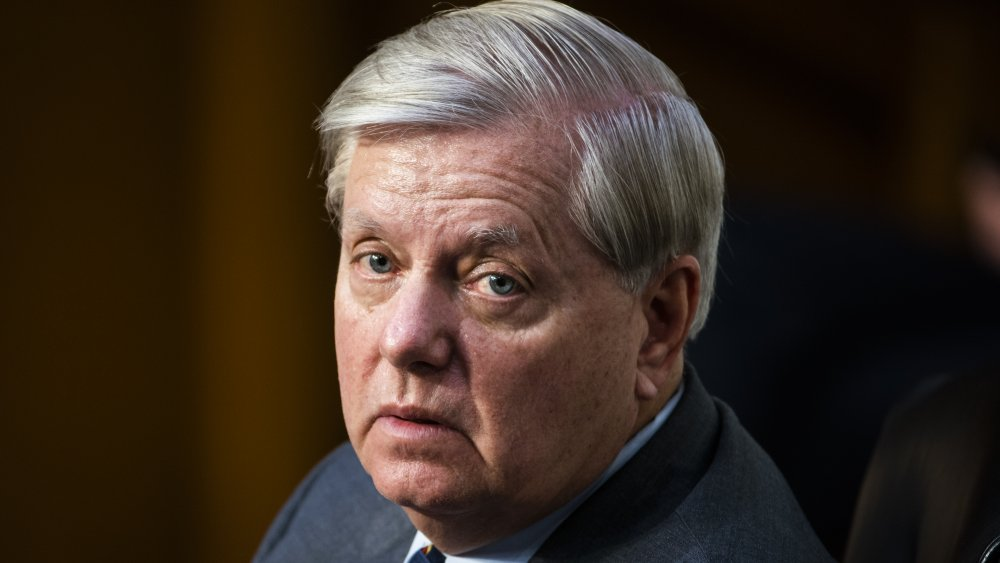 Lindsey Graham with a worried expression