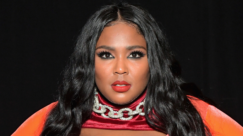 Lizzo in red lipstick