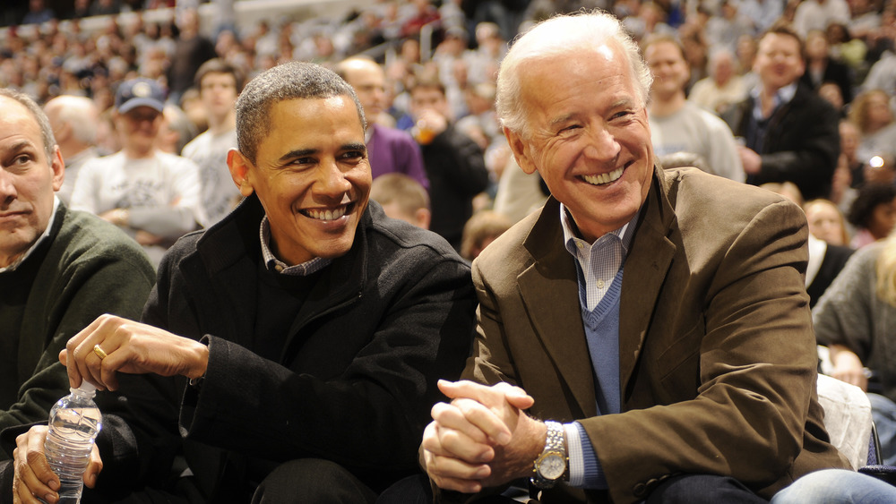 Barack Obama and Joe Biden at an event