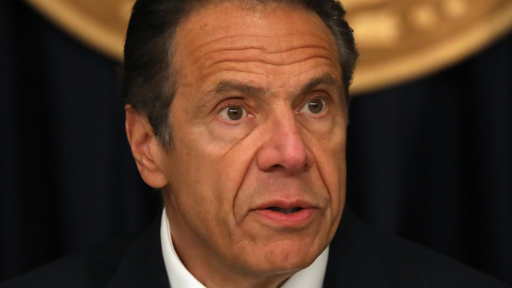 Andrew Cuomo at a coronavirus briefing in New York City