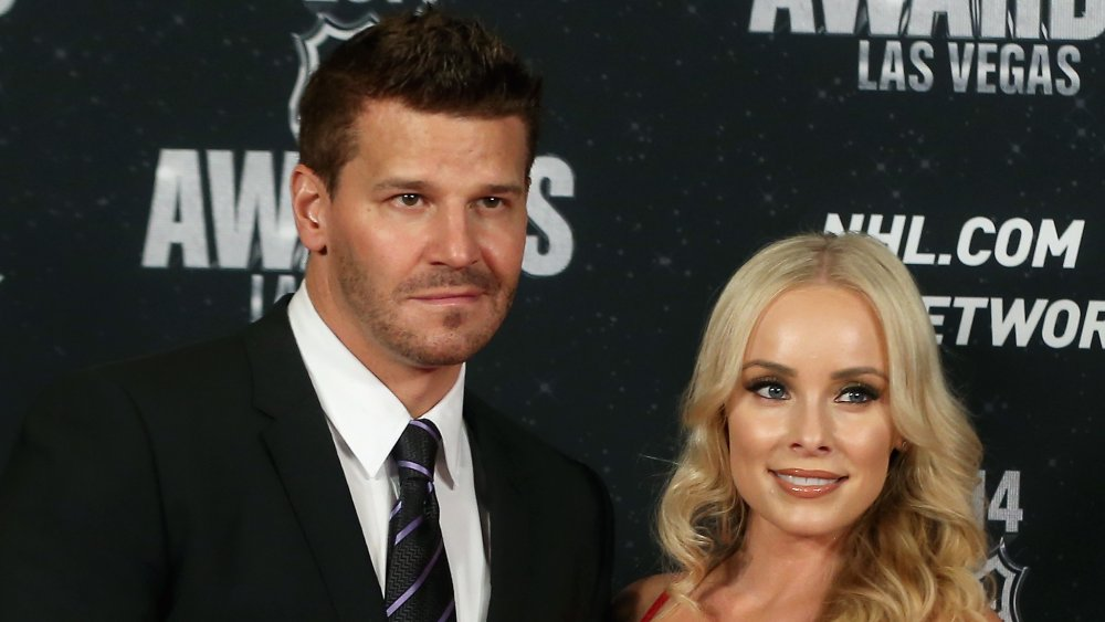 David Boreanaz in a black suit and black-and-purple striped tie, Jaime Bergman in a red dress