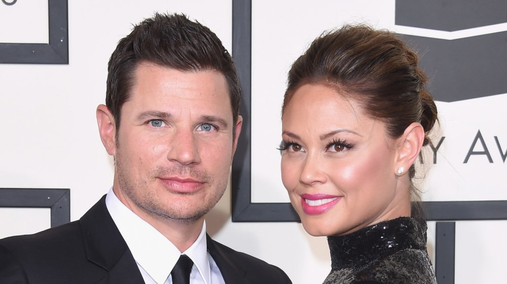 Nick Lachey and Vanessa Lachey at the 58th Grammy Awards