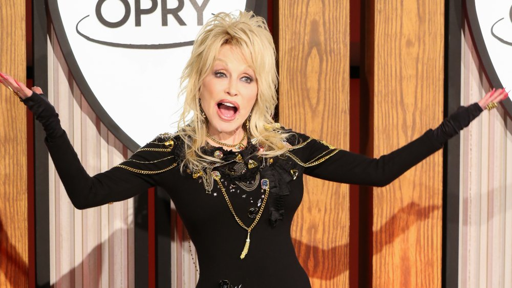 Dolly Parton at a press conference before a performance celebrating her 50 year anniversary with the Grand Ole Opry