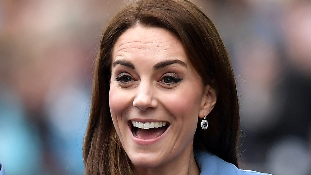 Kate Middleton engaging in a walkabout at Ballymena Town Centre