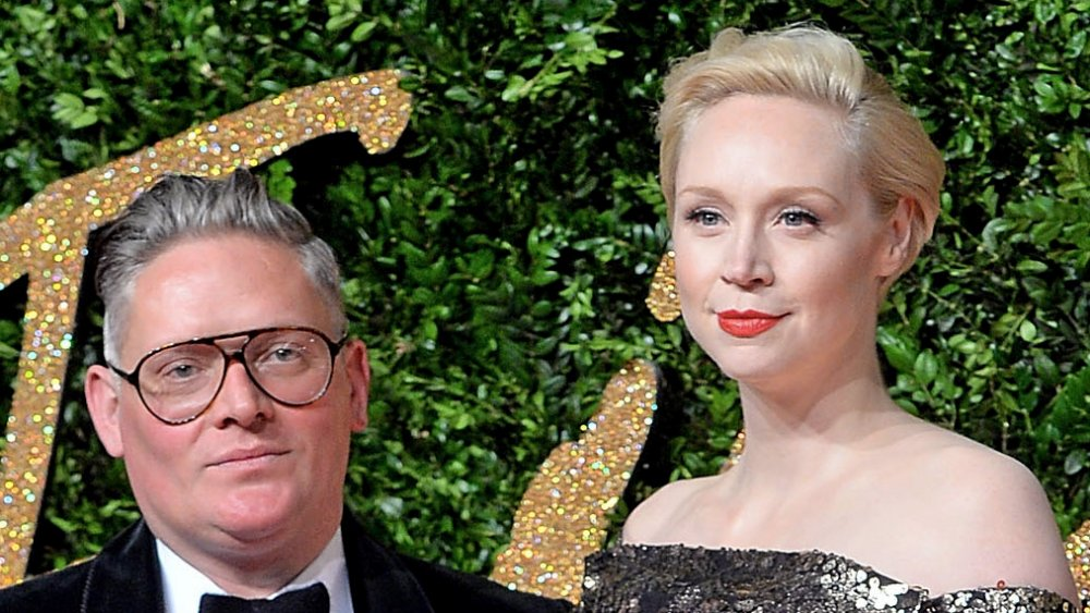 Giles Deacon and Gwendoline Christie at the British Fashion Awards