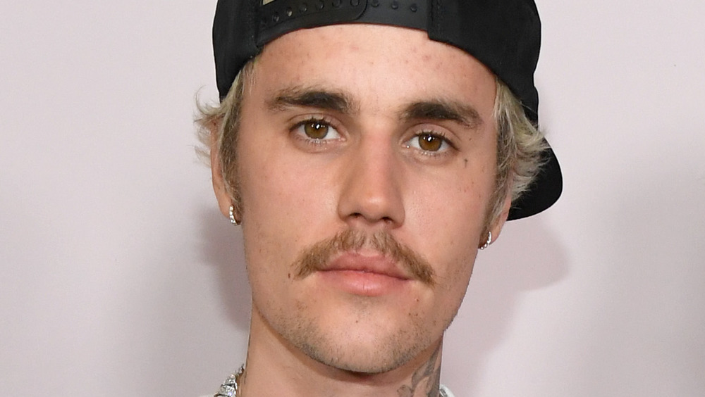 Justin Bieber with a mustache