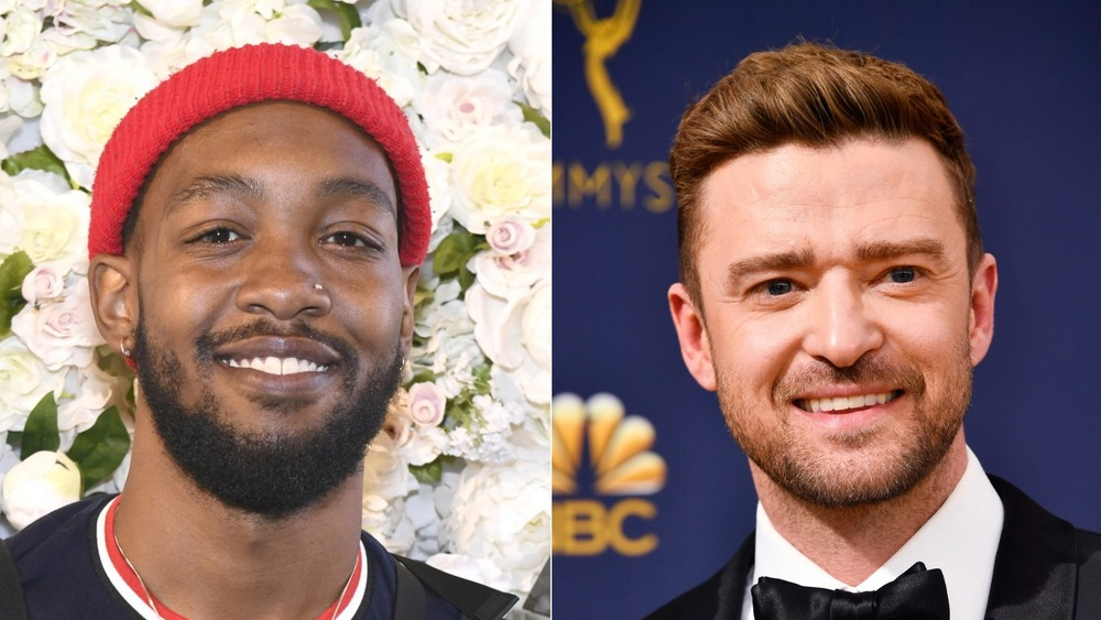 Ant Clemons and Justin Timberlake smiling in split image