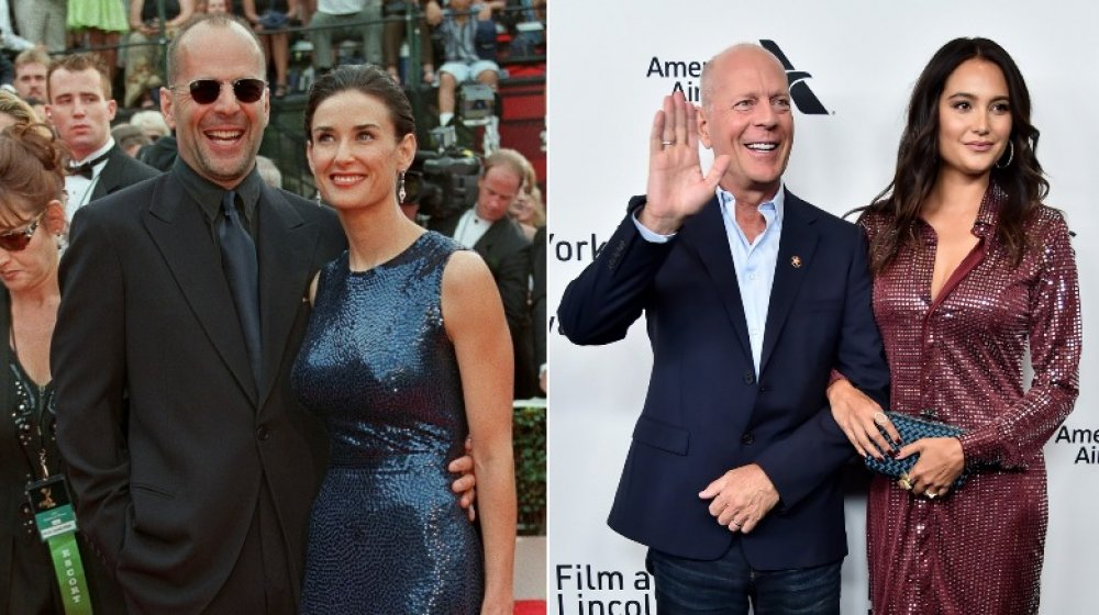 Bruce Willis and Demi Moore; Bruce Willis and Emma Heming
