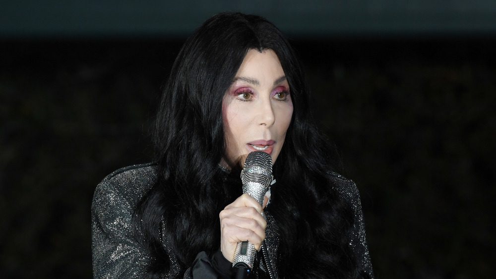 Cher talking into a microphone