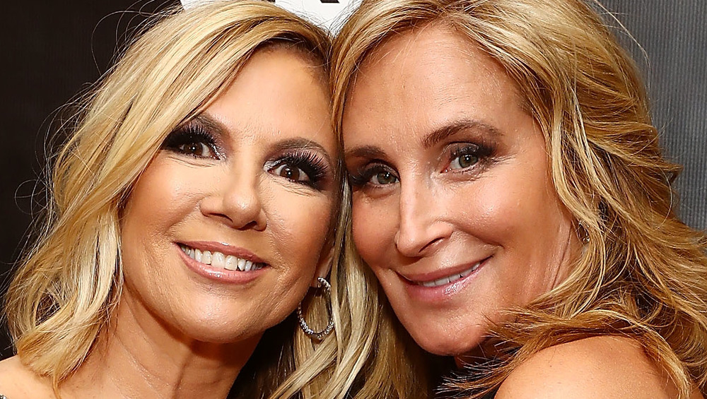 Ramona Singer and Sonja Morgan smiling cheek-to-cheek