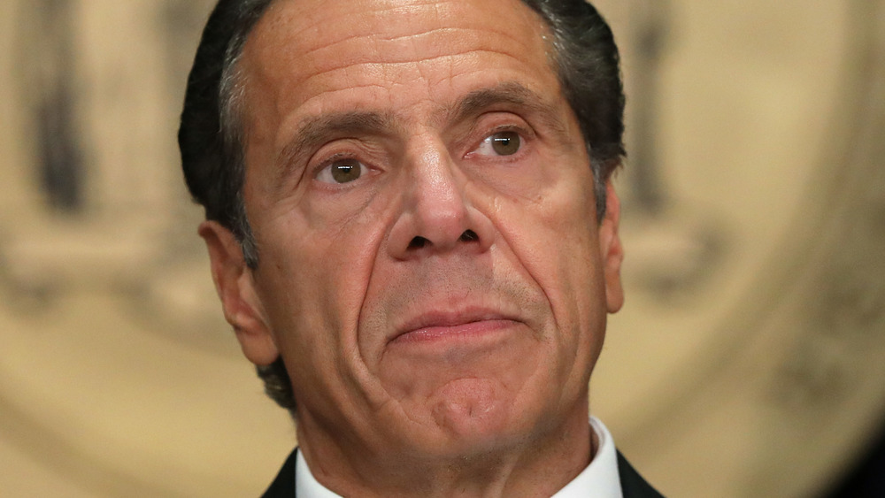 Andrew Cuomo speaking at a press conference