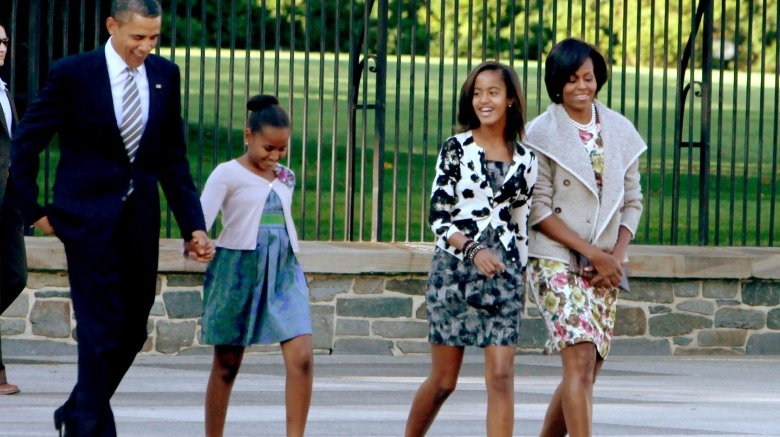 The Obama family going to church in 2010