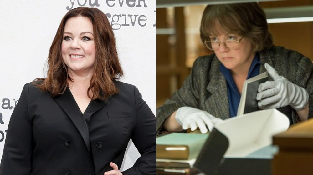 Split image of Melissa McCarthy at a 2018 premiere, and as Lee Israel in Can You Ever Forgive Me?