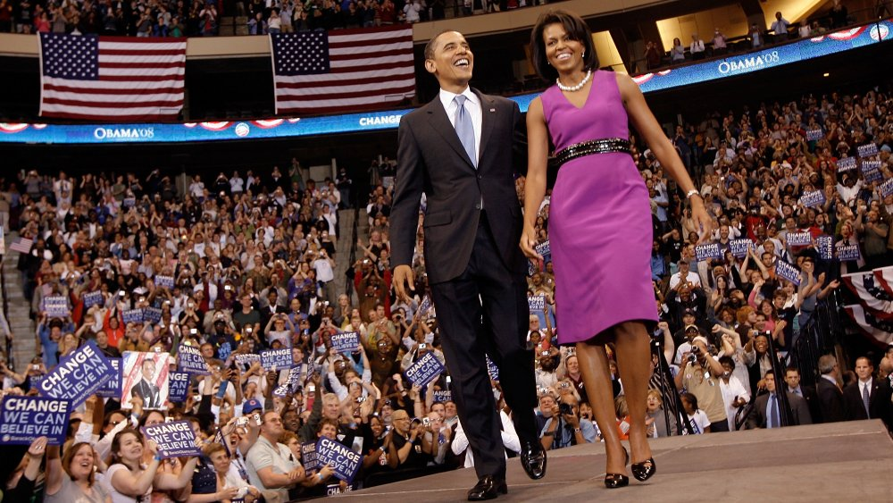 Barack Obama and Michelle Obama at a campaign event in June 2008
