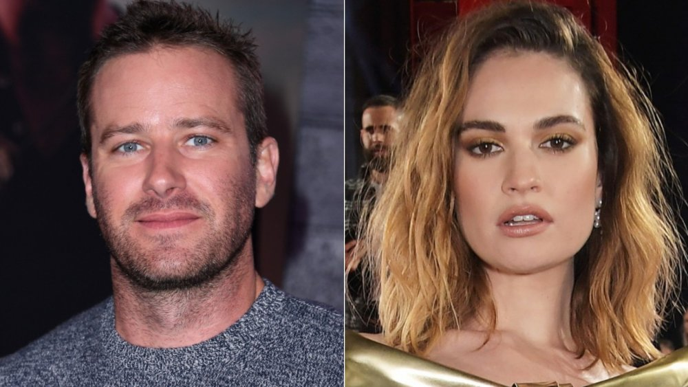 Split image of Armie Hammer and Lily James