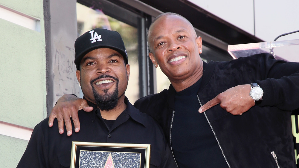 Ice Cube and Dr. Dre at the Hollywood Walk of Fame