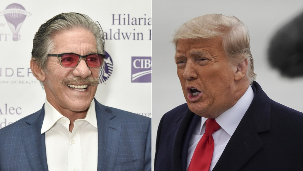 Geraldo Rivera and Donald Trump split screen
