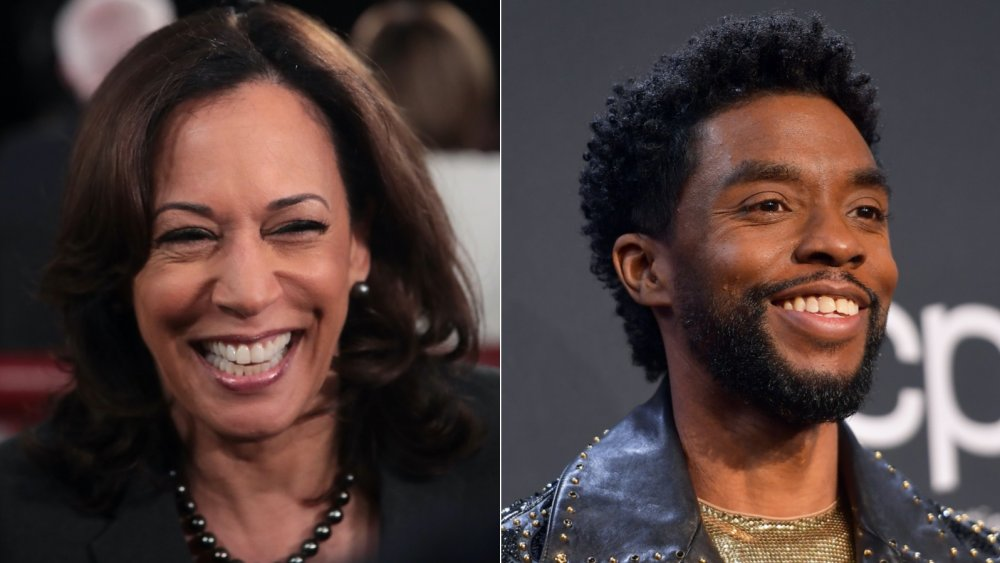Kamala Harris and Chadwick Boseman