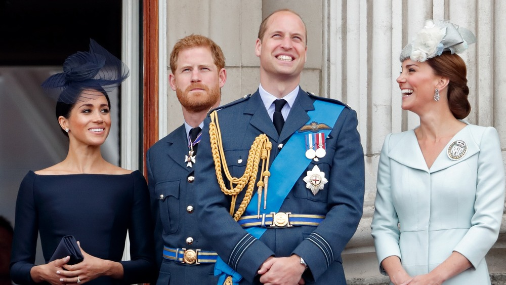 Prince Harry and Prince William with their wives Kate Middleton and Meghan Markle