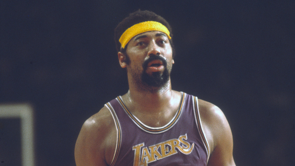 Wilt Chamberlain playing for the Los Angeles Lakers