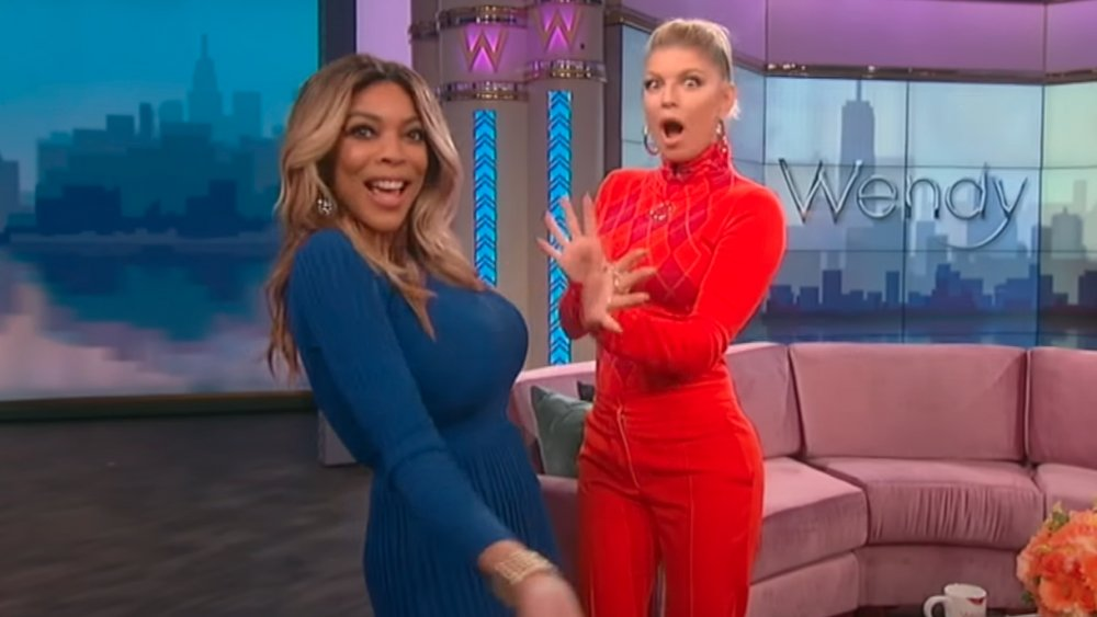 Wendy Williams and Fergie lip-syncing to Fergie's Glamorous