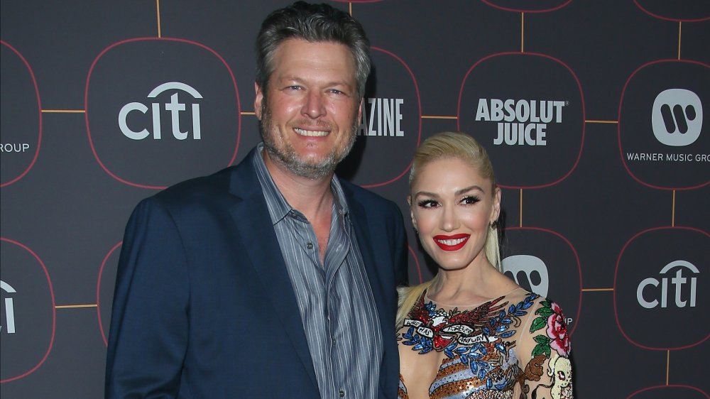 Blake Shelton and Gwen Stefani at a pre-Grammy party in 2020