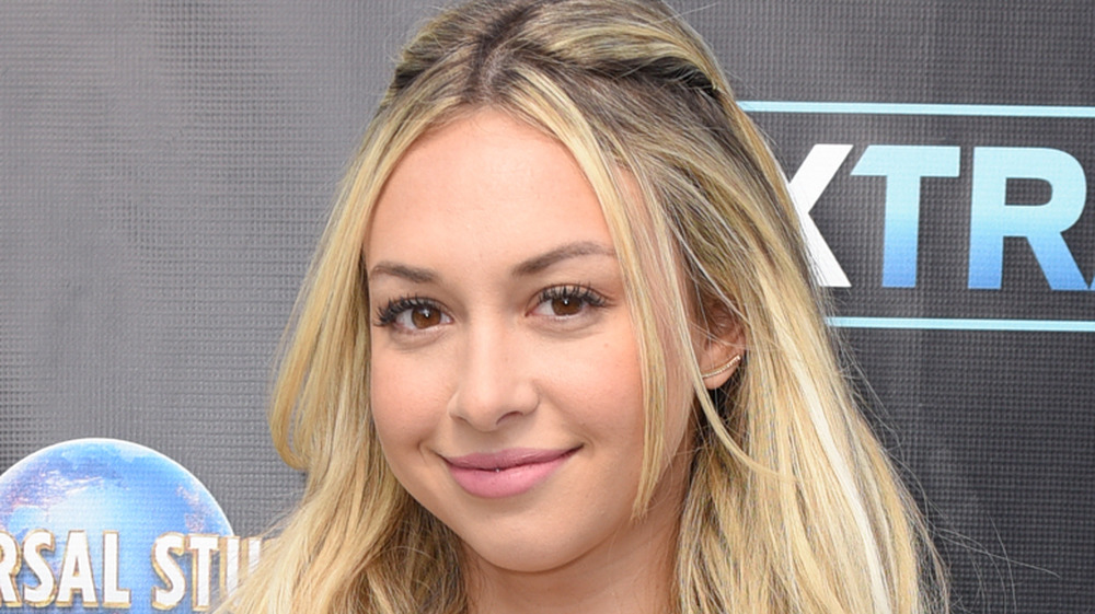 Corinne Olympios during a visit to Extra in Hollywood