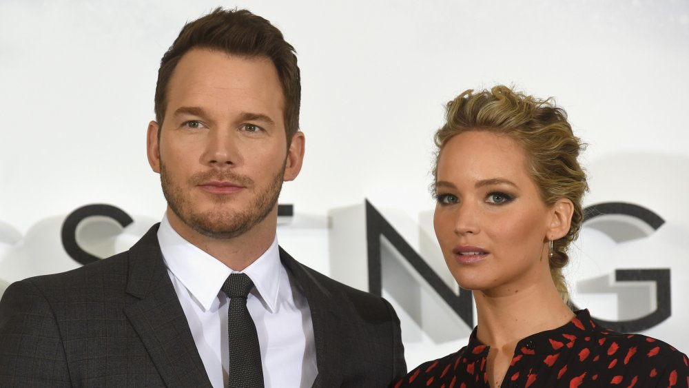 """Chris Pratt and Jennifer Lawrence attend a photocall for their film """"Passengers"""" at Claridge's Hotel"""