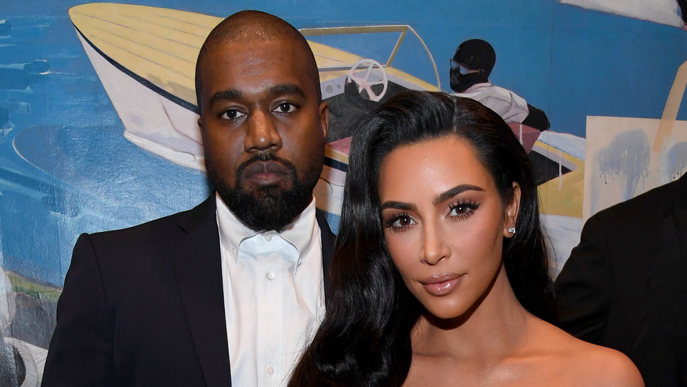 Kim Kardashian and Kanye West at an event