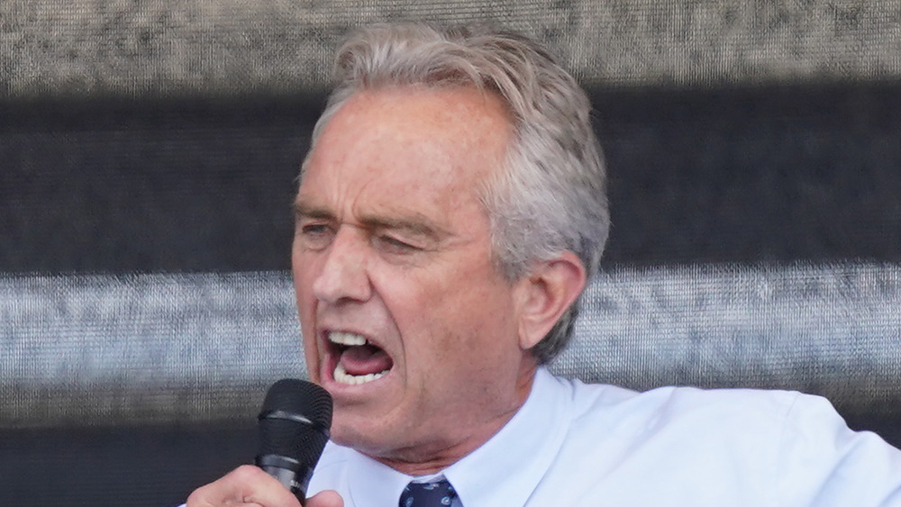 Robert F Kennedy Jr speaks at an event for coronavirus skeptics in August 2020 in Berlin