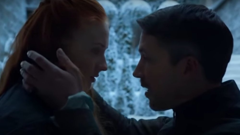 Sophie Turner and Aidan Gillan in a scene from Game of Thrones